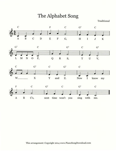 Alphabet Song Abcs Free Lead Sheet With Melody Chords And Lyrics