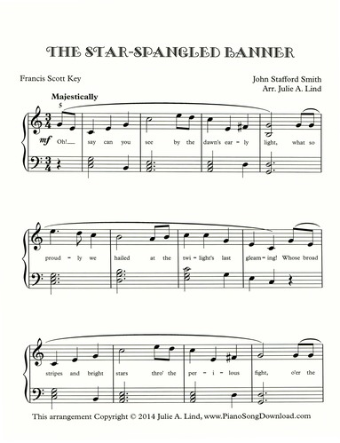 The Star Spangled Banner free sheet music