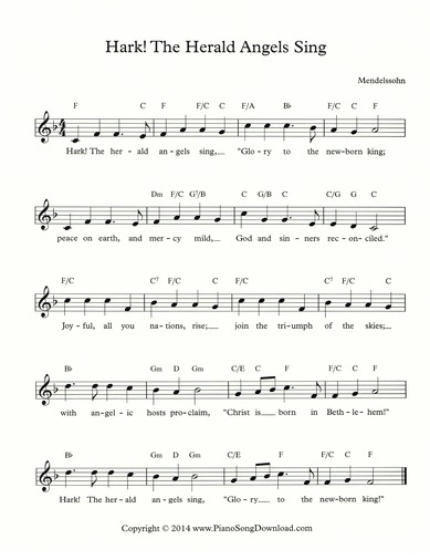 Hark the Herald Angels Sing Lead Sheet
