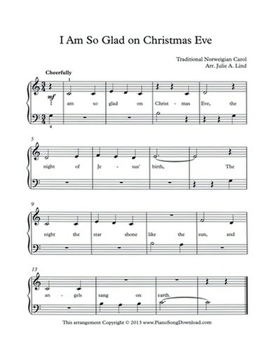 I Am So Glad on Christmas Eve Free Piano Music