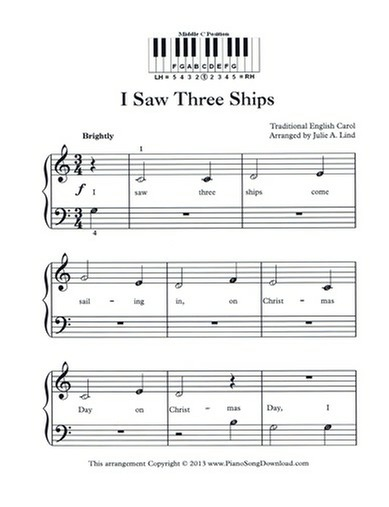 I Saw Three Ships - Free Easy Christmas Piano Music with letters and lyrics