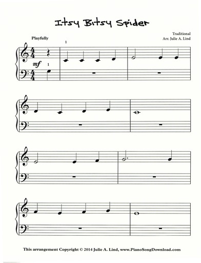 Itsy Bitsy Spider | Free easy Piano Sheet Music to print