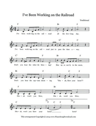 I've Been Working on the Railroad - free lead sheet with melody, chords and  lyrics