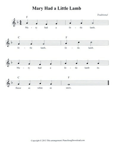 Mary Had a Little Lamb: free lead sheet