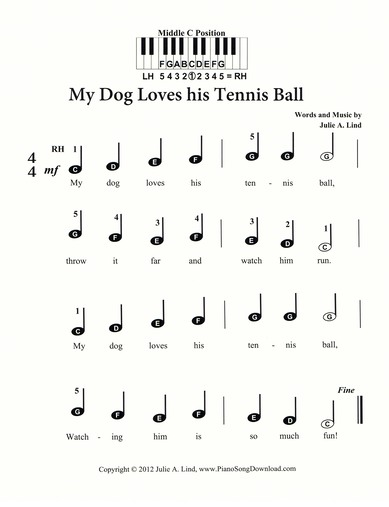 My Dog Loves His Tennis Ball | pre-staff music with letters