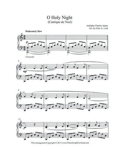 O Holy Night Free Intermediate Piano Christmas Sheet Music