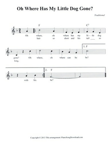Oh Where Has My Little Dog Gone: free lead sheet