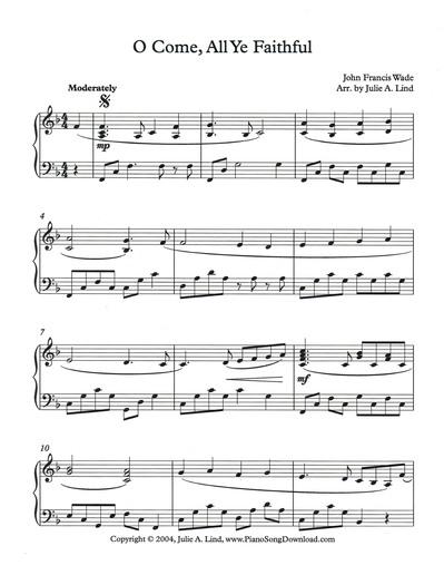 O Come, All Ye Faithful: free intermediate Christmas piano sheet music