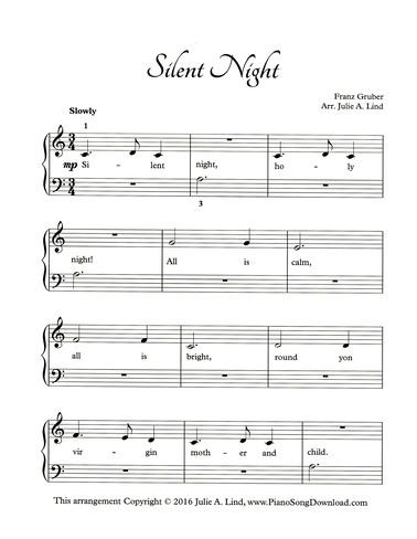 Silent Night Free Easy Christmas Piano Sheet Music With Lyrics