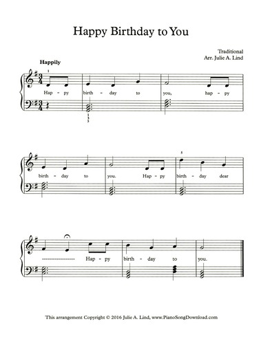 Happy Birthday Free Easy Piano Sheet Music With Chords And Lyrics