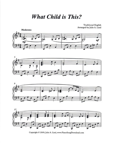 download and print what child is this - Free Christmas Piano Sheet Music