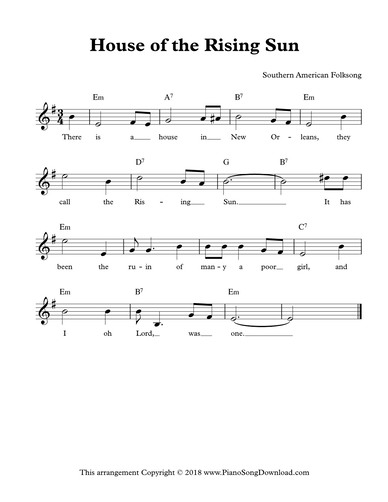 House Of The Rising Sun Free Lead Sheet With Melody Lyrics And Chords,How Do I Hang Curtains With Rings